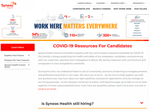 Syneos Health covid 19 messaging