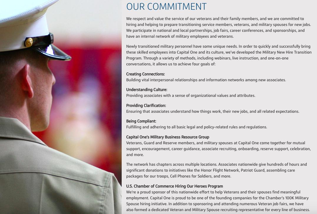 Capital One Careers Military Friendly Employer Veteran Recruiting