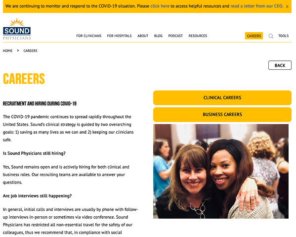 Sound Physicians careers site message covid-19
