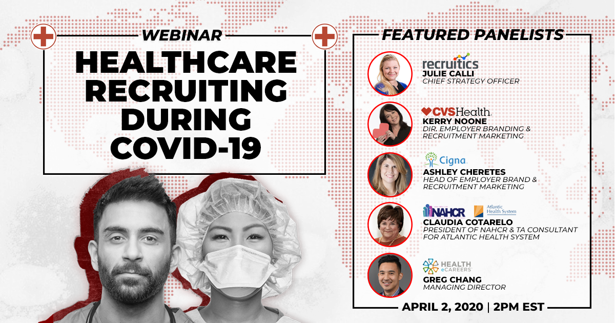 Healthcare Recruiting During COVID-19 Webinar Graphic - LinkedIn Twitter Facebook - All Headshots