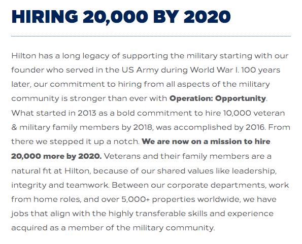 Hilton Careers Military Friendly Employer Veteran Recruiting
