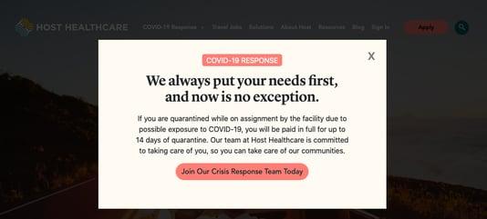 Host Healthcare coronavirus social media recruitment example