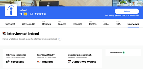 Indeed Company Pages - Interview Tab Added