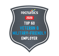 Recruitics Top 60 Veteran & Military-Friendly Employers for 2020 Badge