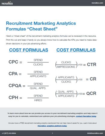 Recruitment Marketing Analytics Formulas Cheat Sheet Image