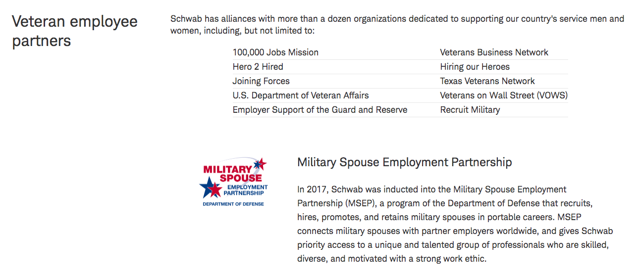 Schwab Careers Military Friendly Employer Veteran Recruiting