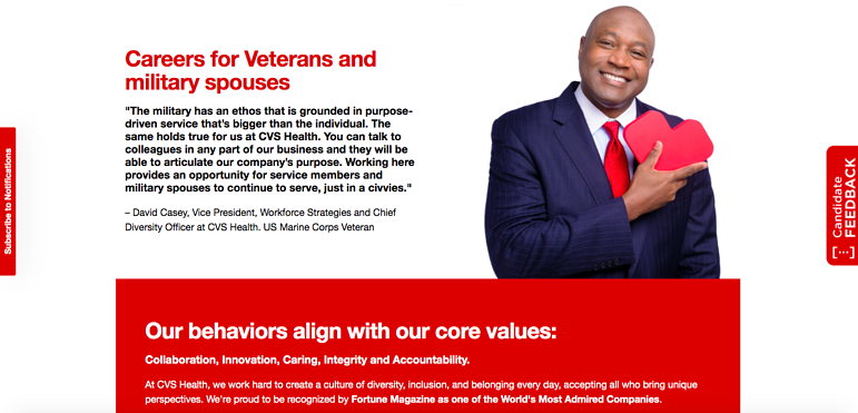cvs health veteran and military spouse career landing page