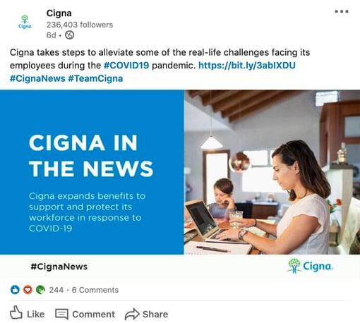 cigna coronavirus social media recruitment example