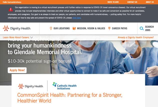 dignity health coronavirus social media recruitment example