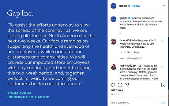 gap coronavirus social media recruitment example