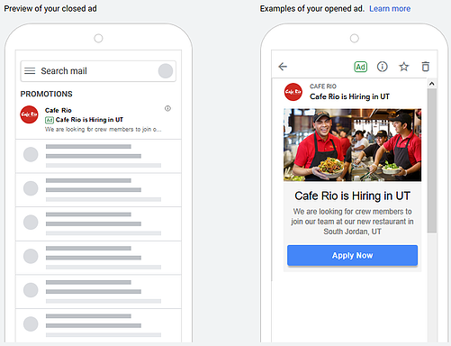 gmail ad preview recruitment advertising