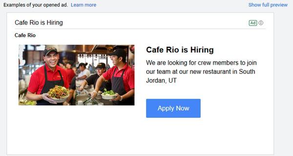 gmail ads recruitment advertising