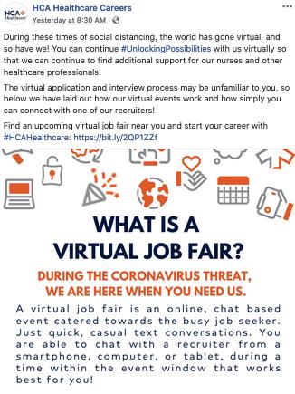 hca healthcare coronavirus social media recruitment example