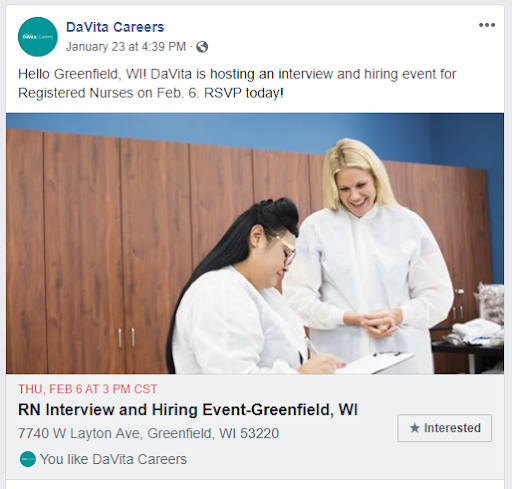 hiring event promotions davita careers