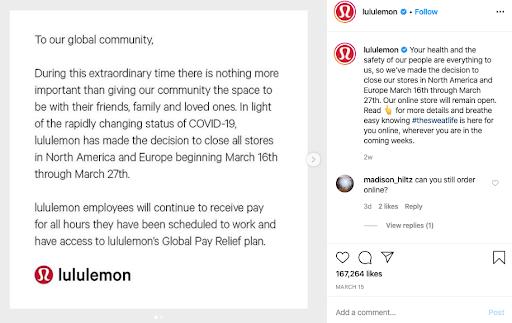 lululemon coronavirus social media recruitment example