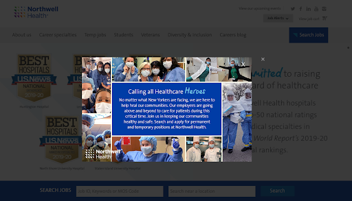 northwell health coronavirus social media recruitment example