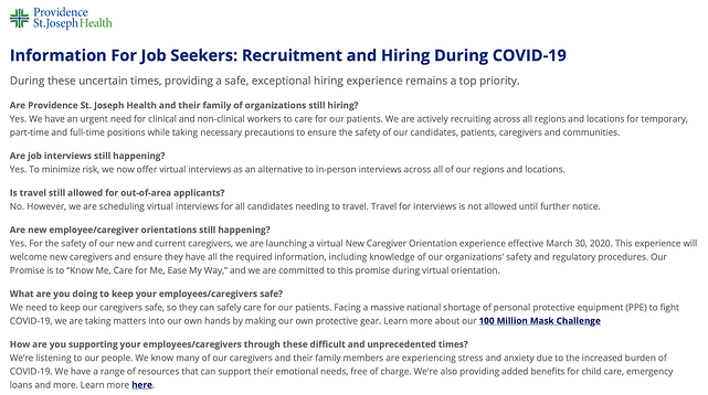 providence st. joseph coronavirus social media recruitment example 2