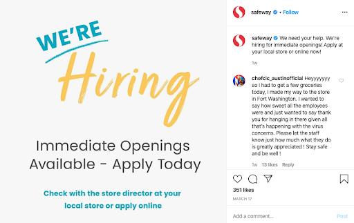 safeway coronavirus social media recruitment example