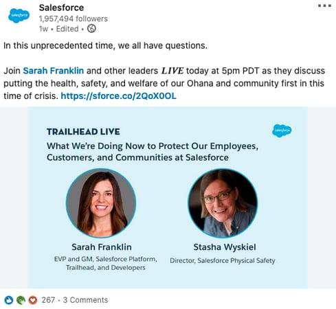 salesforce coronavirus social media recruitment example 3
