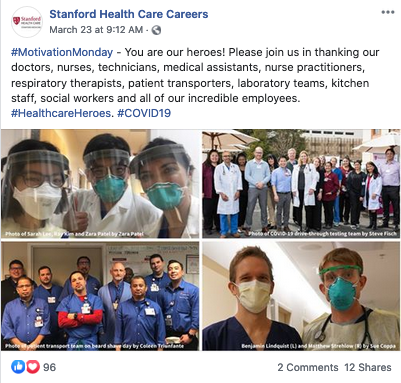 stanford health care careers coronavirus social media recruitment example