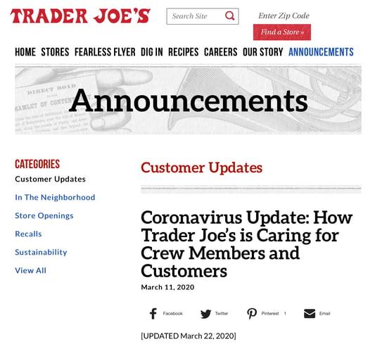 trader joes coronavirus social media recruitment example