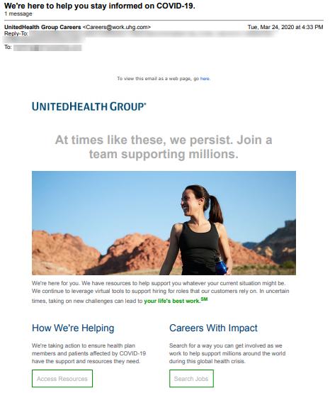 unitedhealth group coronavirus email recruitment example