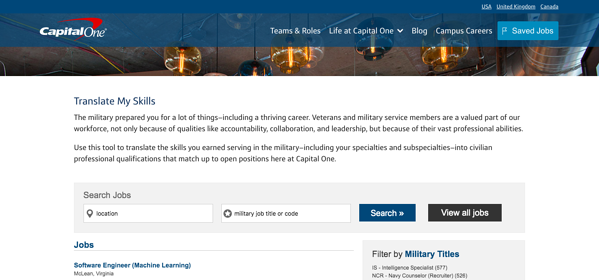 veteran recruiting military skills translator capital one employer