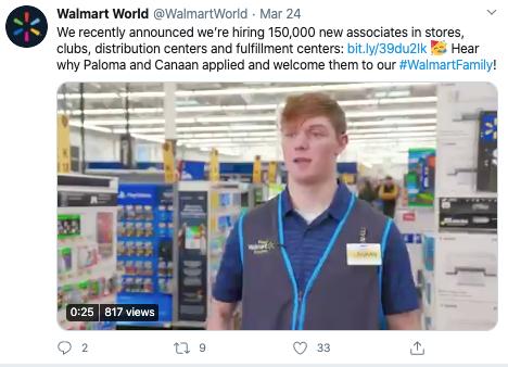 walmart coronavirus social media recruitment example 2
